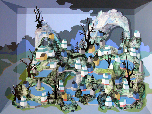 Patrick Campbell. Gongshi Mountain, 2008. Acrylic, pearls & semi-precious stones on wood panel in poplar frame. 39.5 x 53.5 x 2.75 inches.