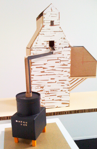 Monica Martinez. Granary Study. 2009. Museum chip board, wood. 10 x 15 x 18 inches.