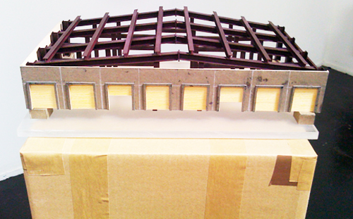 Monica Martinez. Warehouse Study. Museum chip board, wood. 32 x 19 x 13 inches.