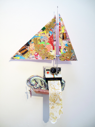 Ryan Brennan. Washing Memories. 2009. Collage sculpture. 25 x 16 x 7 inches.