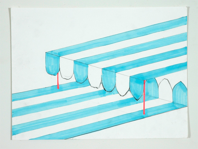 Kristine Taylor. Awning Jaw.  2006. graphite, marker, highlighter on paper. 12.5 x 15.75 inches in frame.