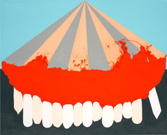 Kristine Taylor. Tented Teeth. 2007. oil and enamel on linen. 21.5 x 25.5 inches.