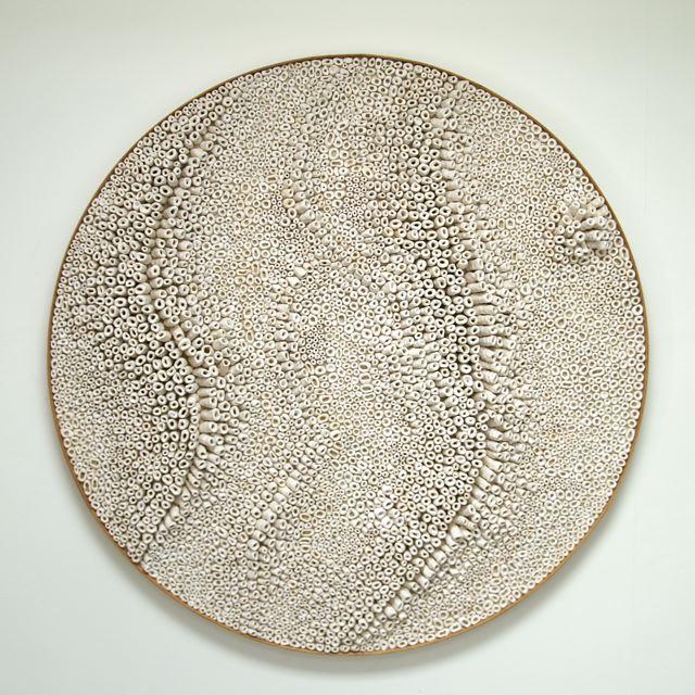 Brigitte Bouquet. Frozen River, 2009. ceramic, hessian, wood. 120