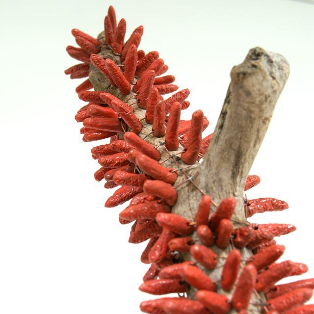 Brigitte Bouquet. Magnolia Tree (detail), 2009. ceramic, copper, wood. dimensions variable.
