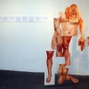 Meleko Mokgosi. The Ruse of Transparency II, 2009. oil on PMMA, text on foamcore. dimensions variable.