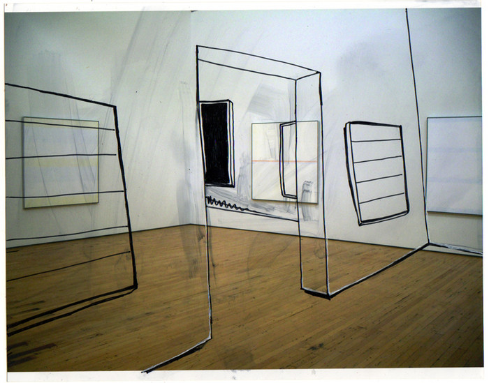Gabriela Vainsencher. Agnes Martin Both Sides of the Room, 2008. marker on digital print. 7.5 x 10 inches.